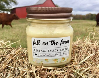 Candle - Fall on the Farm Scented Beeswax Tallow Candle (8 oz Mason Jar Candle, Natural Candle, Beeswax Candle, Tallow Candle)