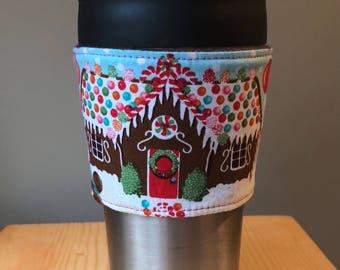 Holiday gingerbread wonderland coffee cup cozy • coffee sleeve • travel mug • tumbler • stocking stuffer