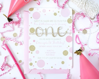 Pink and gold first birthday invitation, Baby Girl 1st Birthday invitations, Gold glitter invite, 1st Birthday invite for girls