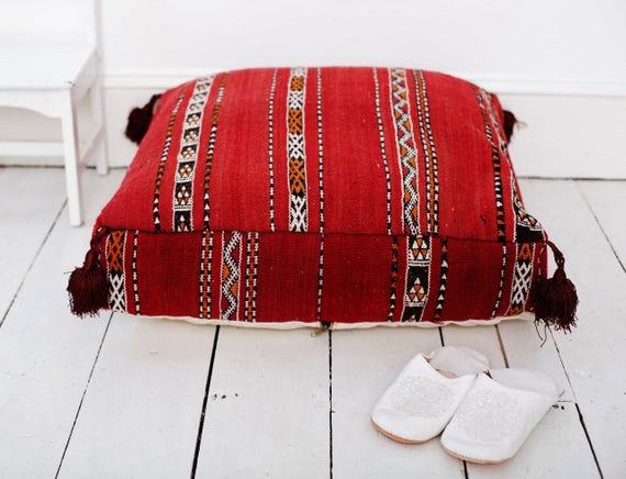 30%Off Sale Home Gift | Vintage Kilim Moroccan Floor Cushion Pouf -home gifts, wedding gifts, anniversary gifts, birthdays, Ramadan, Eid