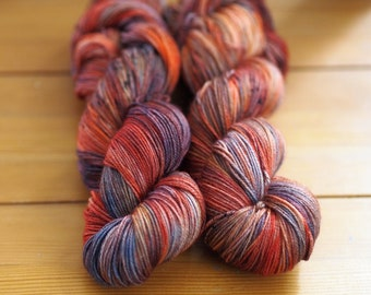 Sockeye Burgundy Orange Purple Navy Black Speckled Hand Dyed Yarn // Merino Nylon Sock Fingering Weight Yarn // Superwash Sock Skein