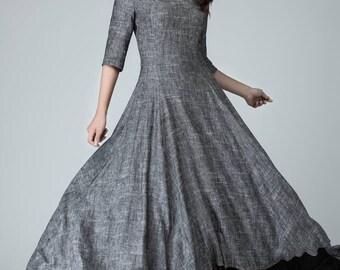 Slip extender, dress, high low dress, linen dress, maxi dress, grey dress, bridesmaid dress, elbow length sleeves, made to measure  1451