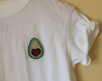 I Heart Avocado! hand-embroidered shirt | Fruit, Vegetable, Vegetarian, Guacamole