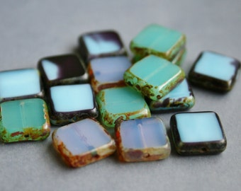 10mm Czech Glass Table Cut Squares Seafoam and Blue Mix - Bead Soup Beads