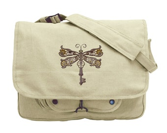 Steampunk Dragonfly Embroidered Canvas Messenger Bag