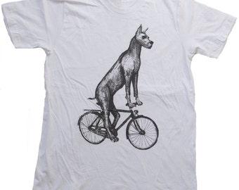 Great Dane on a Bike- Mens T Shirt, Unisex Tee, White Tee, Handmade graphic tee, Bicycle shirt, Bike Tee, sizes xs-xxl