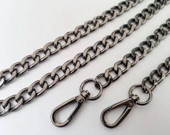 gunmetal chain strap purse strap bag handbag strap handles Crossbody chain links Replacement Chain Strap finished chain width 12mm 1pcs