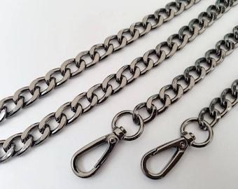 gunmetal chain strap purse strap bag handbag strap handles Crossbody chain links Replacement Chain Strap finished chain width 12mm 1pcs