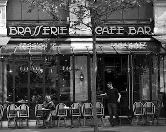 Paris Travel Art, Paris cafe decor, Black & White Photography Wall Art Print, Paris art prints