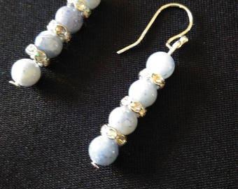 Blue Aventurine, rhinestones and 925 Sterling Silver earrings