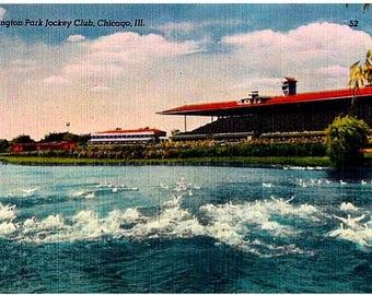 Vintage Chicago Postcard - Arlington Park Racetrack in Arlington Heights (Unused)