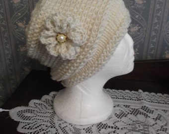 Trendy Ivory/Creme  Handmade Knitted/Crochet Women Slouch Hat