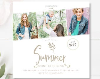 Summer Mini Session Template, Photographer Templates, Photoshop File, INSTANT DOWNLOAD!