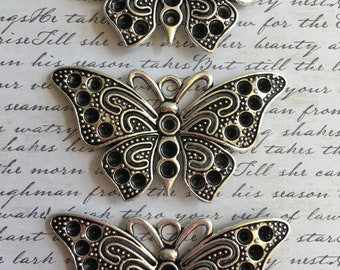 Three  pewter butterflies pendents-lead free pewter