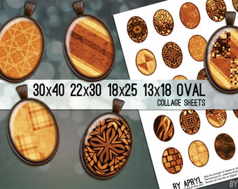 Copper Textures 30x40 22x30 18x25 13x18 Oval Digital Collage Sheet for Glass and Resin Pendants Magnets Paper Craft