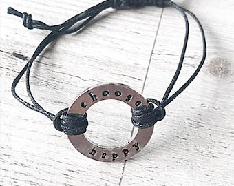 Hand Stamped Washer Bracelet, Choose Happy Bracelet, Hand Stamped Bracelet, Adjustable Bracelet, Washer Bracelet, Gift For Women