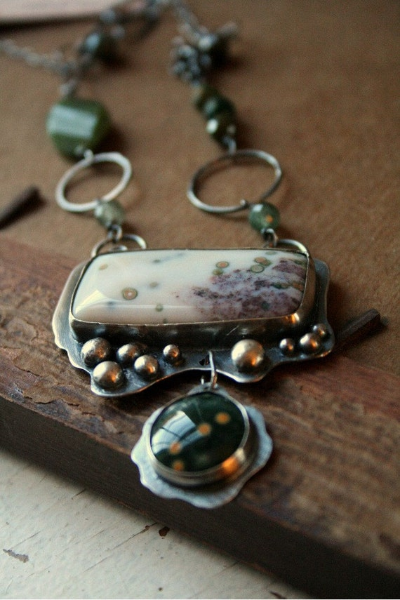 Green Ocean Jasper Sterling Silver Statement Necklace - Refresh
