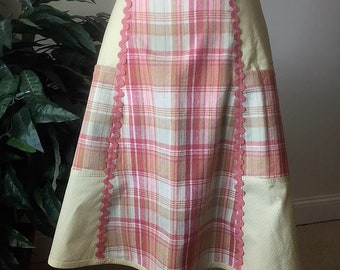Women's Half-Apron Cotton Pink Green