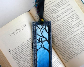 Blue Ombre Bookmark, Love Birds in Tree Art, Hand-Painted Recycled Denim Bookmark, Book Club Friends Gift, unique Mother's Day gift, For Her
