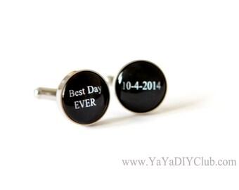 Best Day Ever Wedding Gift for Groom, Personalized Wedding Cufflinks,  Personalized Groom cufflinks