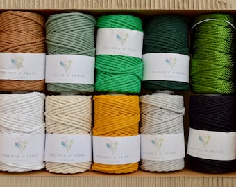 4 mm Twisted 100% cotton macrame rope - 50 meters, in many colors!