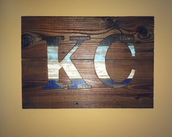 Rustic KC Sign on Reclaimed Barn Wood