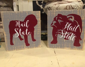 Distressed bulldog wood block sign