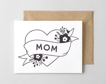 Mom Tattoo Letterpress Thank You Card