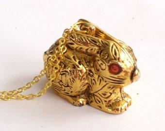 Rabbit Locket, Bunny Locket, Rabbit Perfume, Vintage Bunny Rabbit Solid Perfume Locket Pendant Necklace, Max Factor, Animal Jewelry