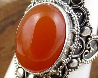 CARNELIAN natural stone, Carnelian, Tiger eye jewels JA71.2 jewelry silver ring