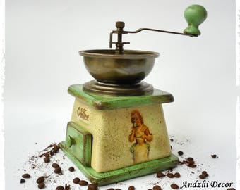 Coffee grinder Wood Ceramic coffee grinder Vintage Manual grinder Ceramic coffee mill  Vintage coffee mill Old coffee grinder Coffee gift