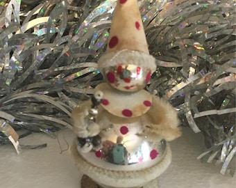 Vintage Mercury Glass Christmas Pixie/Clown Ornament