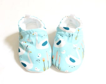 Blue swans, baby soft sole shoes