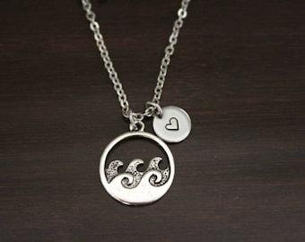Wave Necklace - Wave Gift - Wave Lover - Wave Jewelry - Water Lover Necklace - Ocean Jewelry - Ocean Necklace - Ocean Lover - I/B/H
