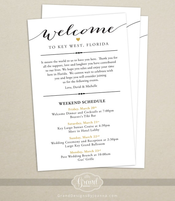 Itinerary cards for wedding hotel welcome bag printed junglespirit Image collections