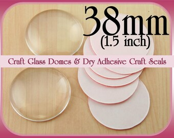 38mm Glass Domes. 1.5 inch Glass Domes. Round Craft Glass  Flat on Back Side Glass.  Optional Dry Adhesive - Clear Sticky Seals-Small Packs