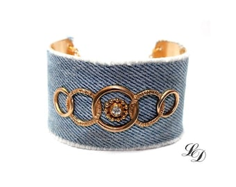 Ooak boho cuff bracelet with vintage adornments and upcycled jeans, bohemian, gypsy, elegant, rocker, stylish,- Free shipping