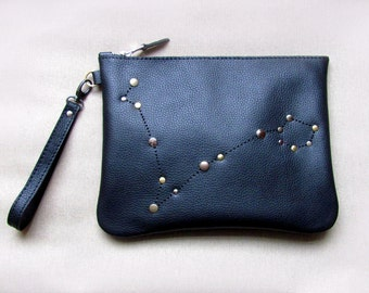 Personalized zodiac constellation leather clutch bag, Black zipper pouch with zodiac sign
