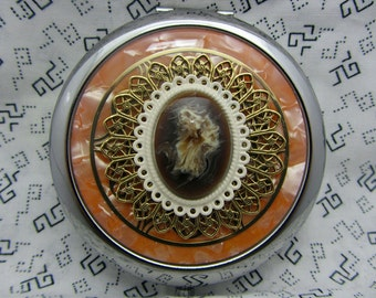 Ladies compact mirror and pouch - handcrafted mirror compact - retro gifts for her - orange round compact mirror - pumpkin pie