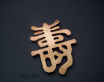 Vintage brass Chinese hanging letter, longevity?, charming wall decoration, good luck sign, Feng Shuei
