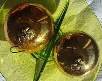 "Vintage German Kugel Ornaments - 2.5"" Gold"