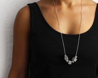 concrete necklace, silver chain, concrete jewelry, statement necklace, architectural, modern jewellery, minimalist jewelry, brutalism,