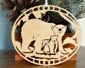 Wood Polar Bear ornament woodcut Polar Bear with cubs