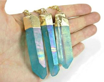 Aqua Aura Quartz Necklace, Blue Crystal Necklace, Unique Gift Mum, Boho Stone Jewellery, Polished Crystal Pendulum Point Energy Balancing