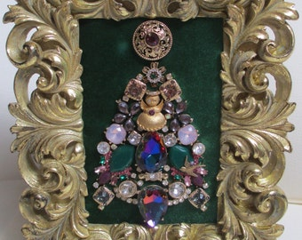 Jeweled Framed Jewelry Art Christmas Tree Emerald Green Purple Vintage