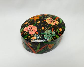 Vintage Kashmir Paper Mache Lacquer Box Floral Pink Blue Green Field Flowers Black Interior Jewelry Trinket Pill Box India Compressed Paper