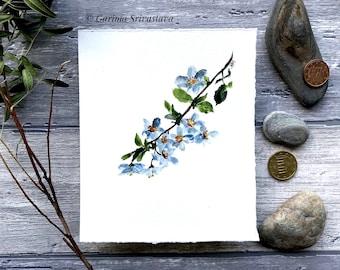 original cherry blossom flower blue gray watercolor art painting wall art sakura realistic floral botanical illustration small aquarelle