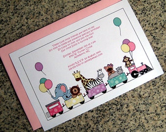 zoo train girl birthday party invitations fully custom with pink envelopes - set of 10