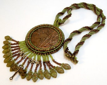Olive Green Dragonfly necklace antique bronze beadwoven