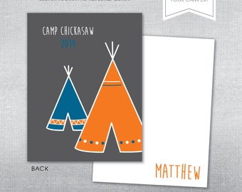 Summer Camp Stationery. Camp notecard.